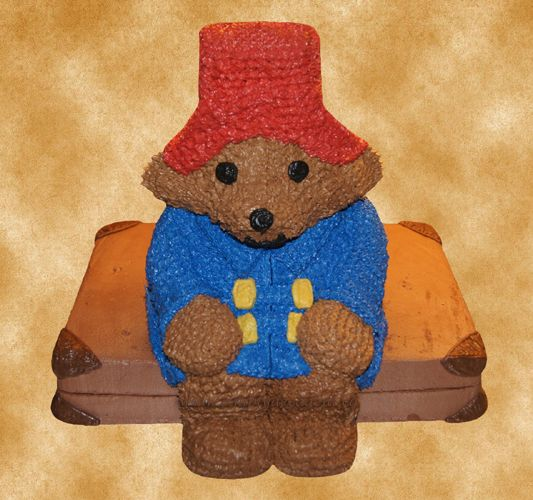 3D Paddington Bear, sitting on a suitcase