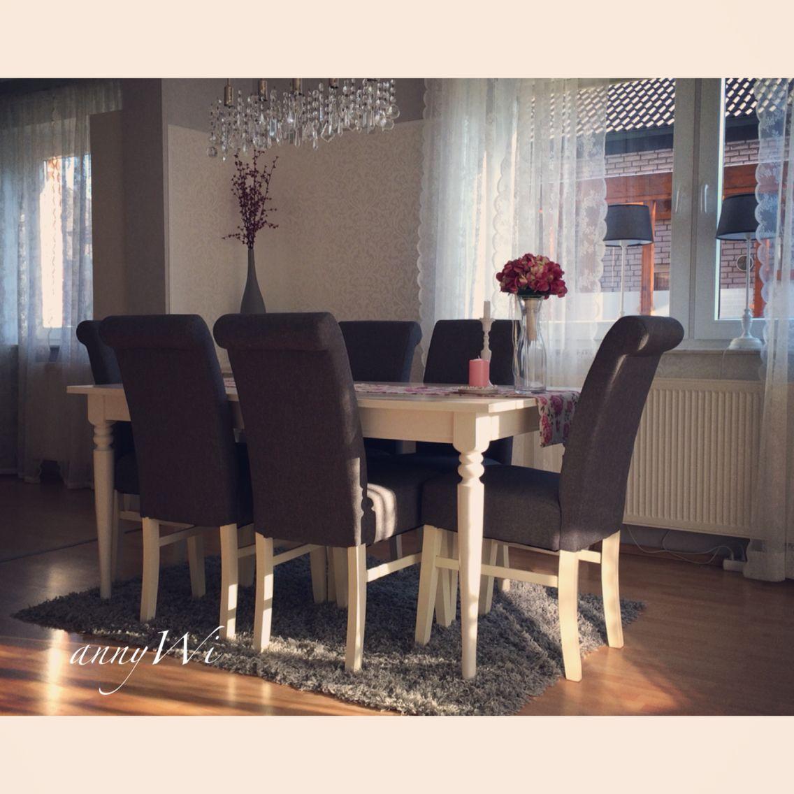 AnnyWi Deko Wohnung Ikea Ingatorp Esszimmer Wohnzimmer Landhausstil Shabby Vintage