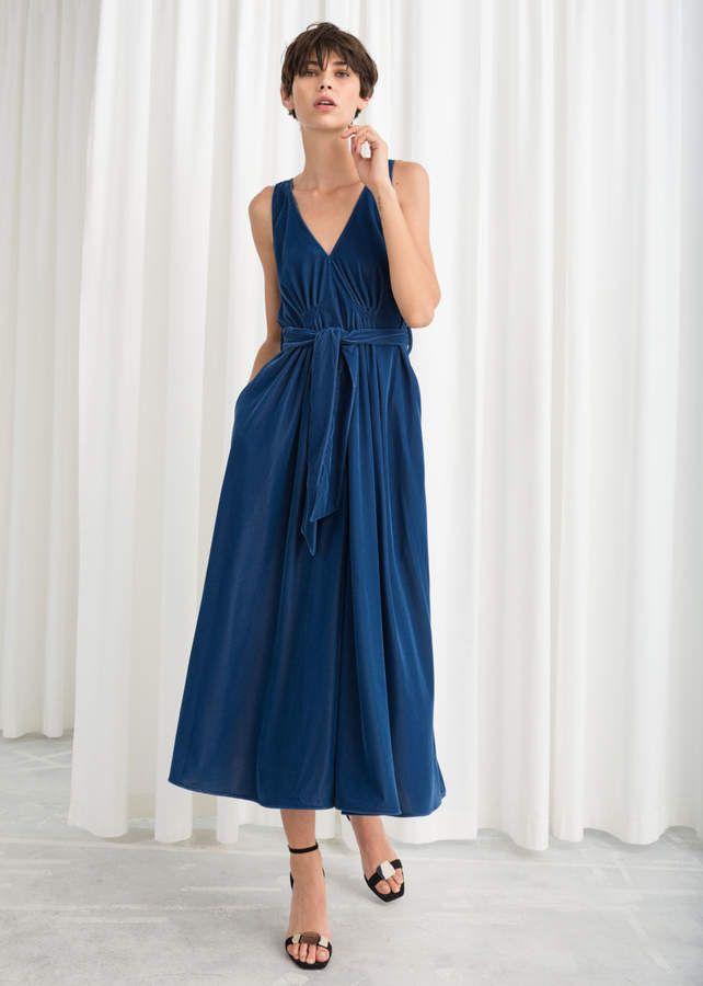 6b88a6c328e6 And other stories Belted Velvet Midi Dress | My Style | Velvet midi ...