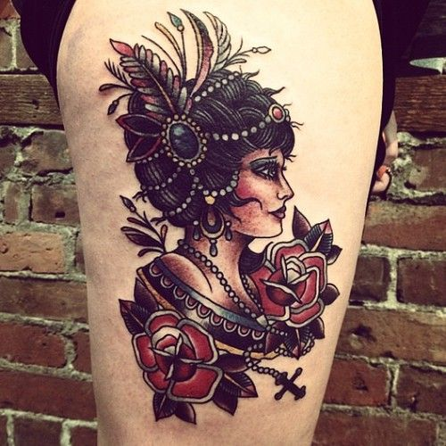Old school gypsy tattoo love her hair and how you can see for Sailor jerry gypsy tattoo