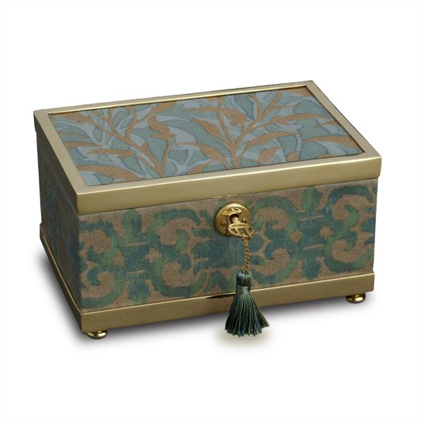 "The Fortuny Small Teal Green Orfeo-Farnese Box features a wood frame, suede lining, brass hardware, and a key with tassel.  Measures 4"" wide and 6"" long and 3 ½"" tall.   Makes a beautiful jewelry box or an elegant addition to any desk or office"