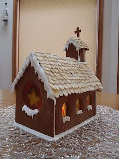 Gingerbread Church with Stained Glass and snowy window