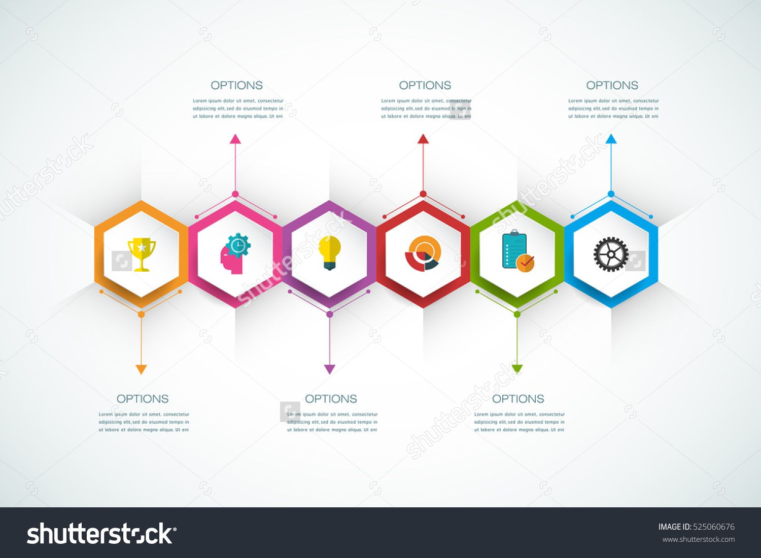 vector infographics design template with 3d paper label integrated