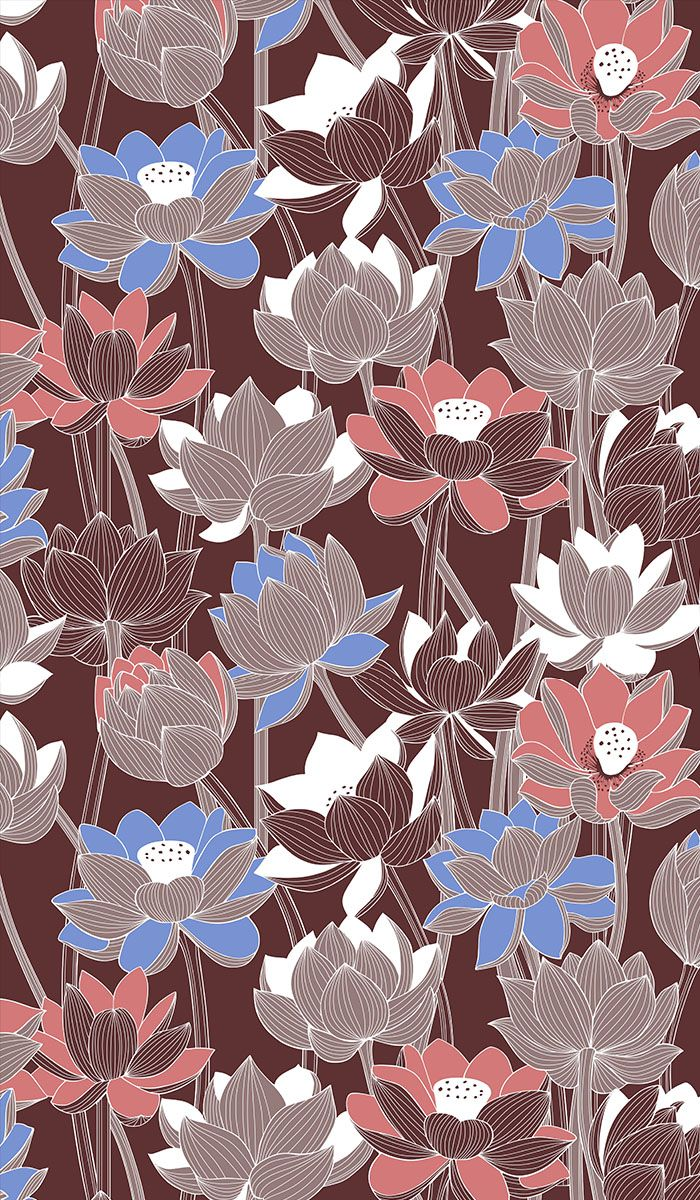 Pattern with Lotus flowers. Seamless vector drawing for