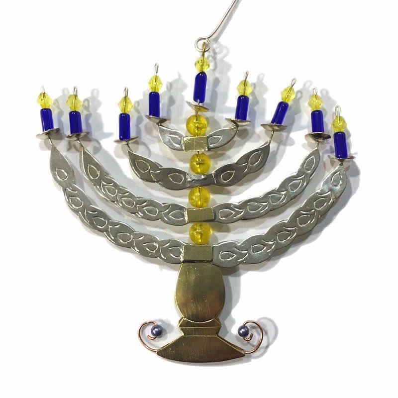 Fair trade hanukkah menorah ornament hanukkah menorah