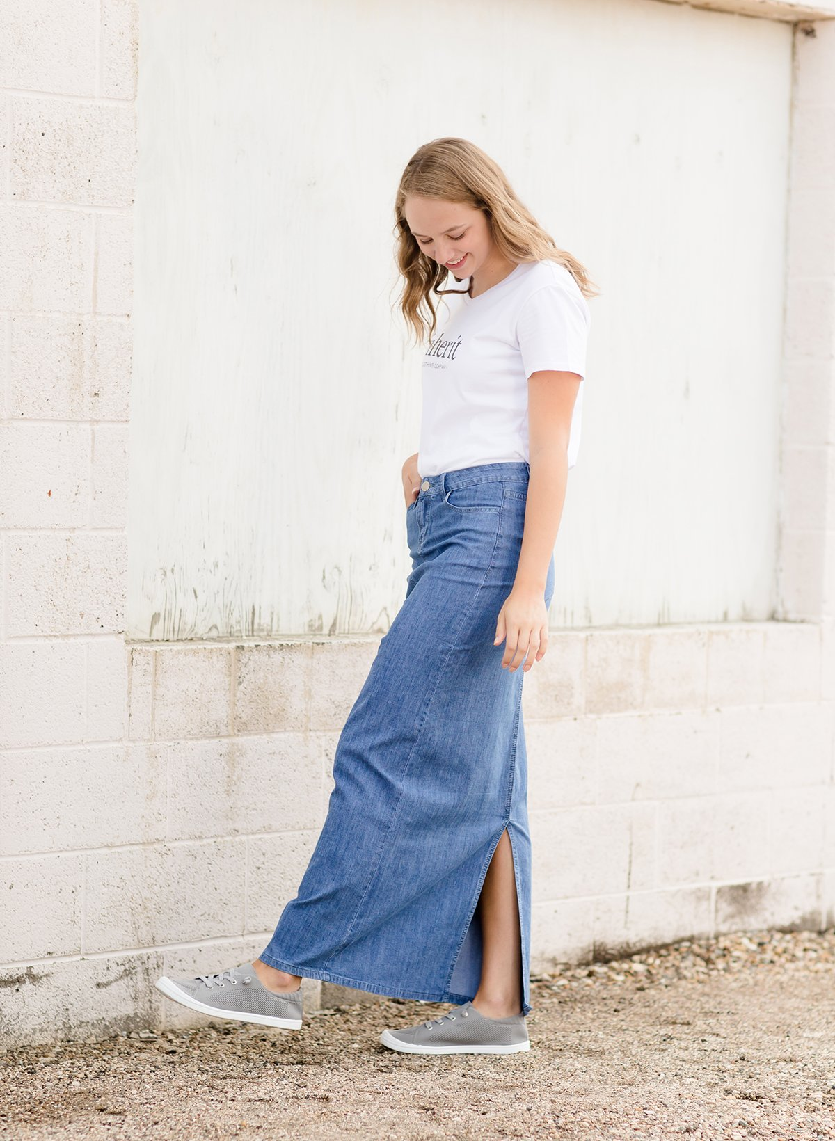 fff592b0ea Ellie Long Denim Skirt in 2019   SKIRTS   Denim skirt, Modest denim ...
