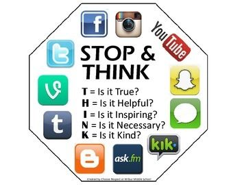 Stop and Think Middle school counseling, Social media