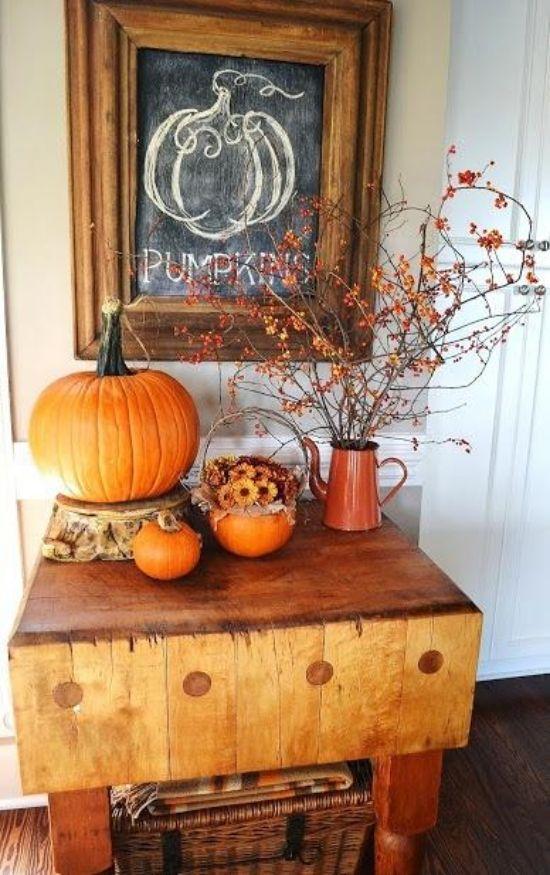 Schwarzes Brett Ideen Für Herbst Dekoration Im Küchen Interieur ... Dekoration Fur Den Herbst Ideen
