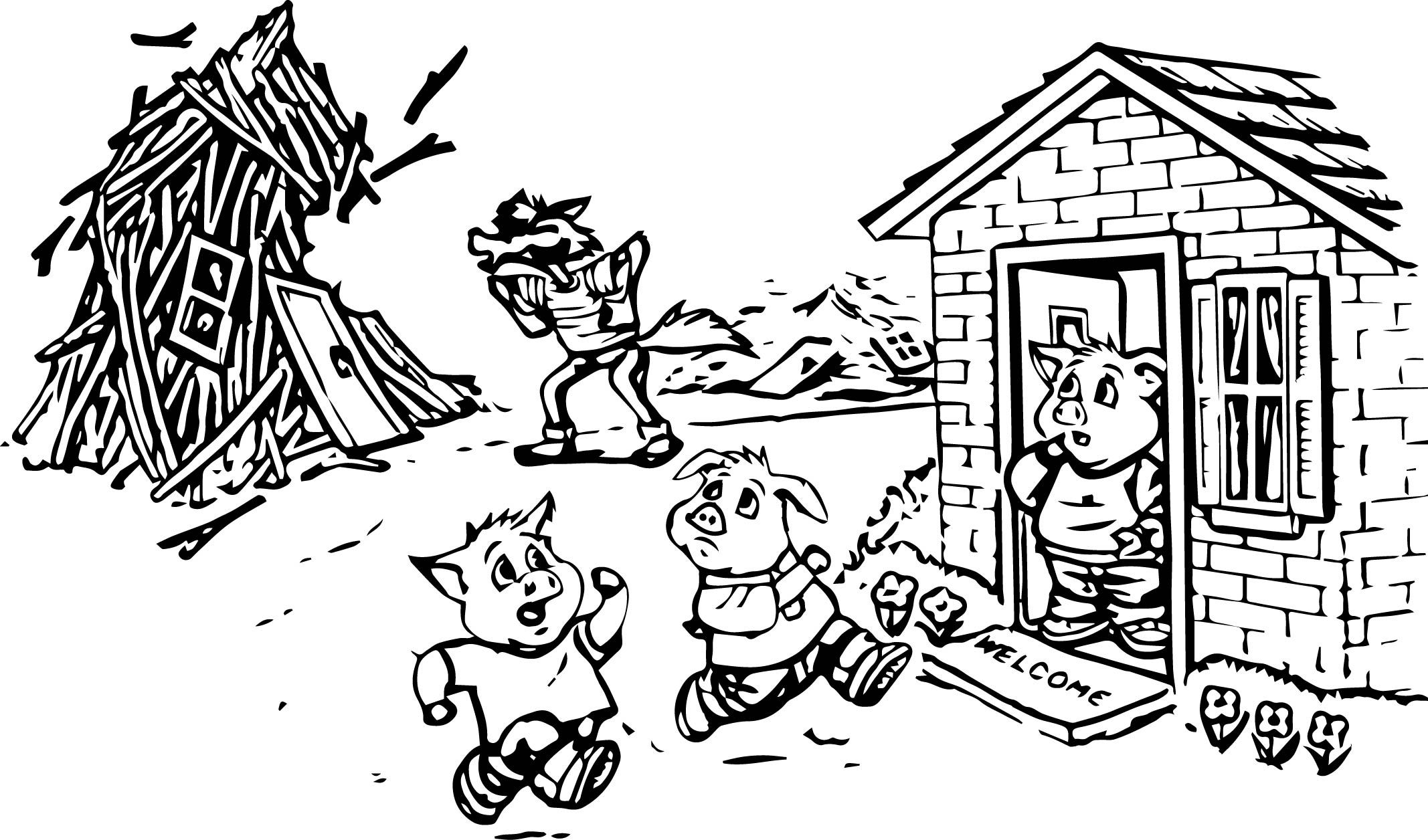 3 Little Pigs Coloring Page Three Little Pigs Mermaid Coloring