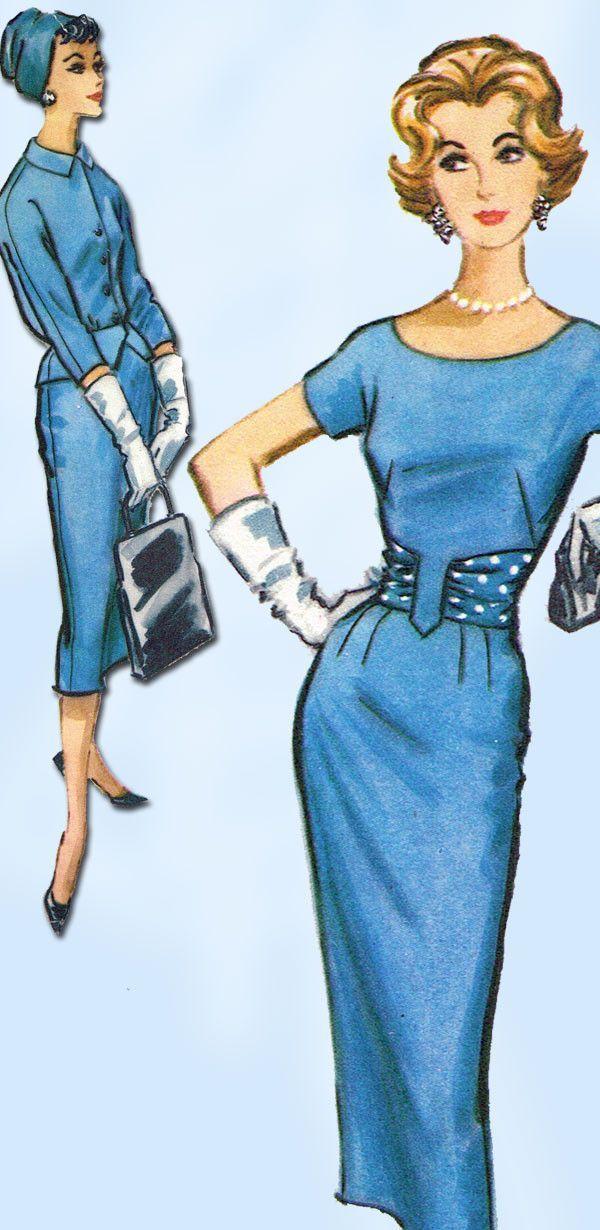 1950s Vintage Misses Wiggle Dress & Jacket Uncut 1958 McCalls Sewing Pattern 35B