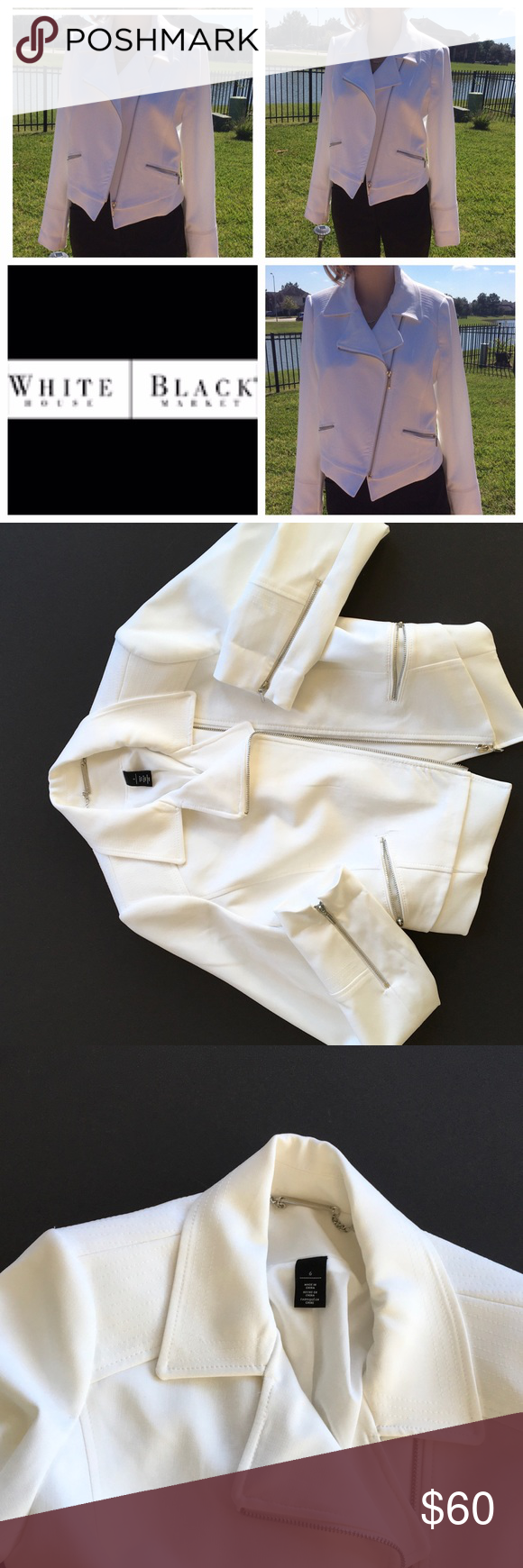 WHBM white moto jacket. NWOT. Sz6 Detailed design Gorgeous pure white too jacket, with detailed stitching along shoulder seams. Perfect from spring into summer, dresses up any shorts or jeans. NWOT White House Black Market Jackets & Coats