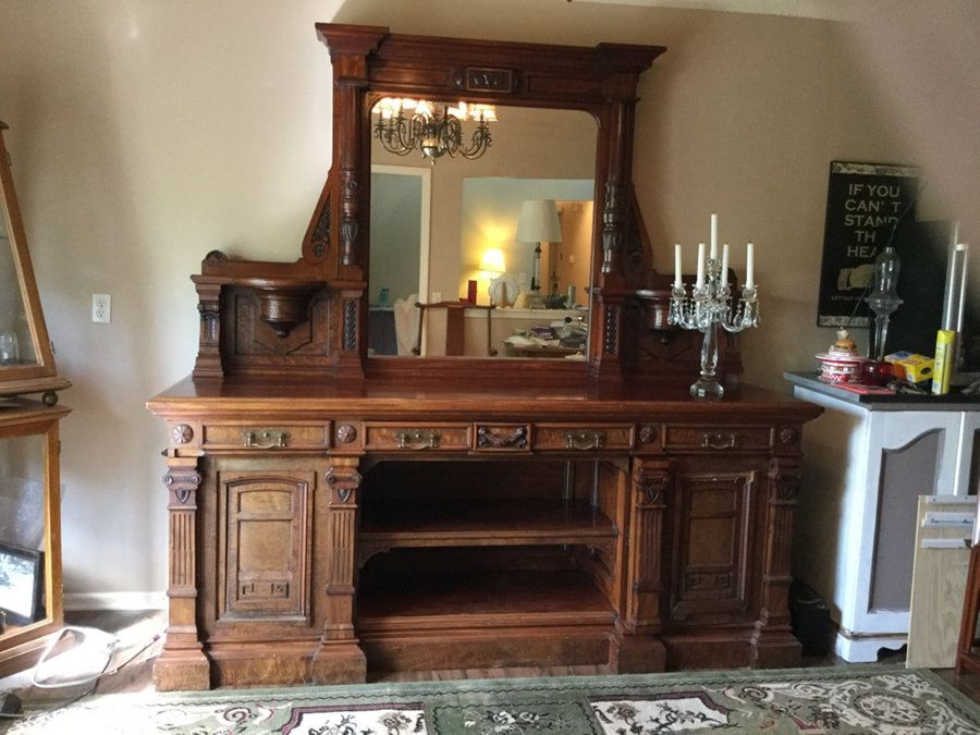 English antique walnut sideboard in Kansas City - letgo - Letgo - English Antique Walnut Side... In Weatherby Lake, MO