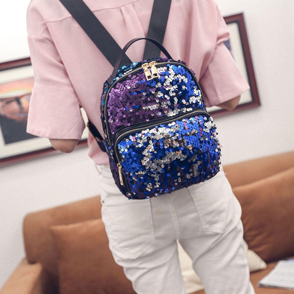 21f2f44c80da 💖Mermaid Glitter Sequins Mini Backpack - Rainbow Small Bag Tote ...
