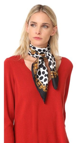 Get this Marc Jacobs's scarf now! Click for more details. Worldwide shipping. Marc Jacobs Animal & Chains Scarf: Layered patterns of polka-dots and photoreal chains lend a graphic touch to this square silk Marc Jacobs scarf. Finished edges. Fabric: Plain weave. 100% silk. Dry clean. Imported, China. Measurements Width: 34.75in / 88cm Length: 34.75in / 88cm (bufanda, bufanda, scarf, snood, knitted scarf, schal, bufanda, écharpe, sciarpa, bufandas)