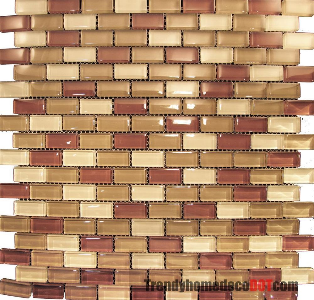 Sample Dark Red Subway Glass And Stone Mosaic Tile For: Sample- Red Brown Mini Brick Crystal Glass Mosaic Tile