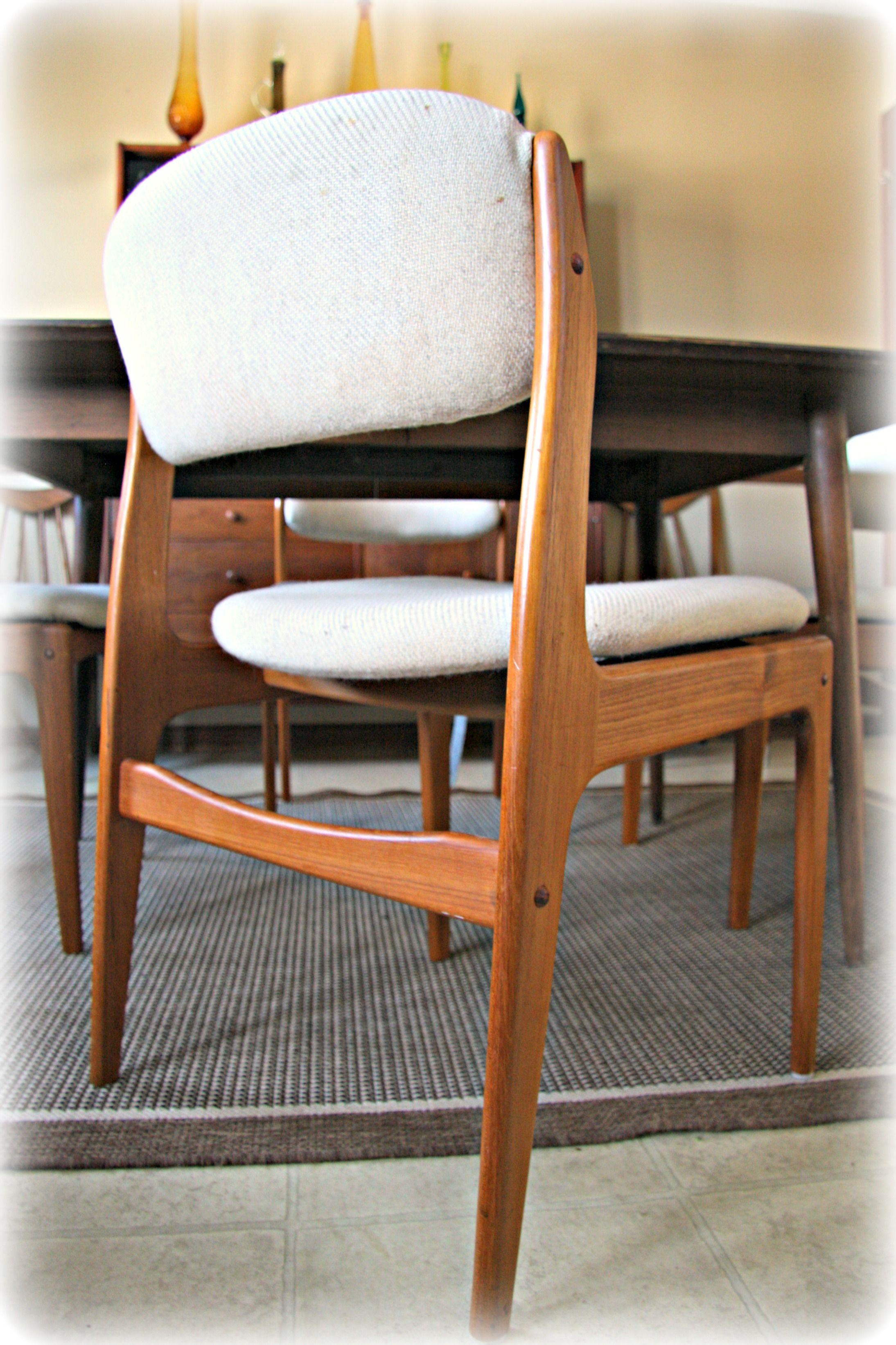 4 Vintage Mid Century Modern Danish Teak Dining Chairs Style
