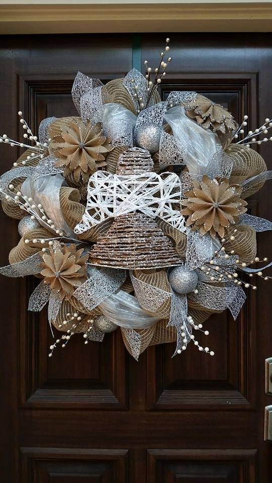 Christmas angel burlap wreath christmas wreath silver for Burlap wreath with lights