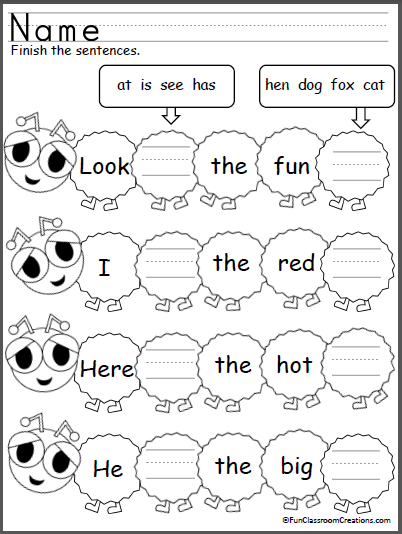 Students complete the sentences by writing the sight words (at, is ...