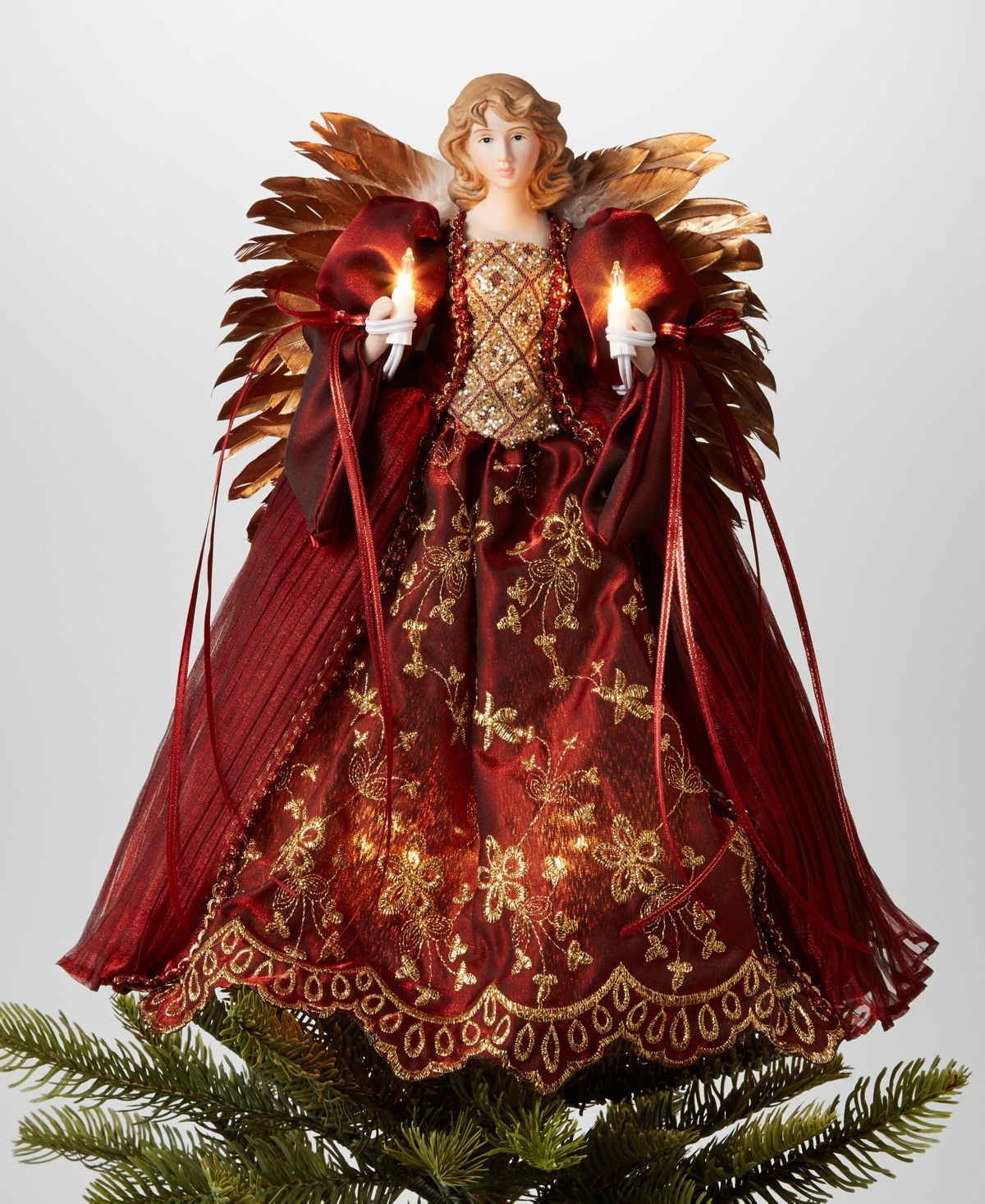 "Holiday Lane 14""H Angel Christmas Tree Topper with Led"