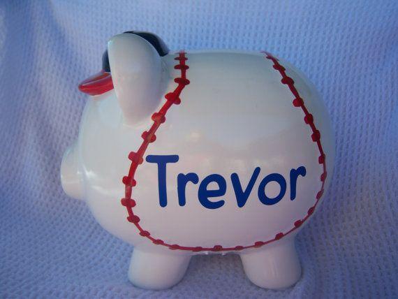 Customized  Baseball Piggy Bank by SoFabDesigns on Etsy, $27.99