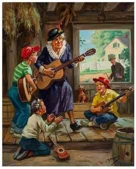 Vovó toca violão. Década de 1950. Óleo sobre tela. Henry Hintermeister (Nova York, NY, USA, 1897 - 1972, USA).