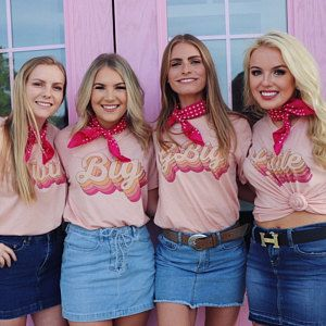 Big, Little, or GBig Retro Font Shirts on Heather Peach Tee, Multi Color Big Little Sorority Shirts #biglittlerevealthemes