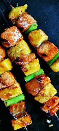 Salmon Teriyaki Skewers with Pineapple - CLick the image for the ...