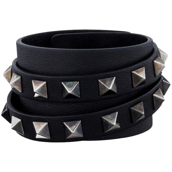 Pre-owned Valentino Rockstud Leather Cuff ($226) ❤ liked on Polyvore featuring jewelry, bracelets, accessories, jewelry - bracelet, black, pre owned jewelry, cuff bangle, leather jewelry, leather cuff jewelry and valentino jewelry