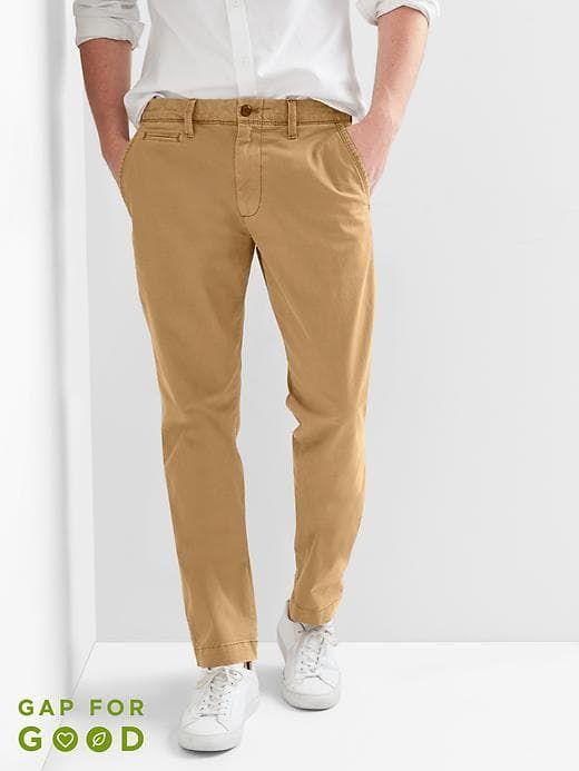 b28503ee8b9f Gap Mens Color Vintage Wash Khakis In Slim Fit With Gapflex Palomino Brown