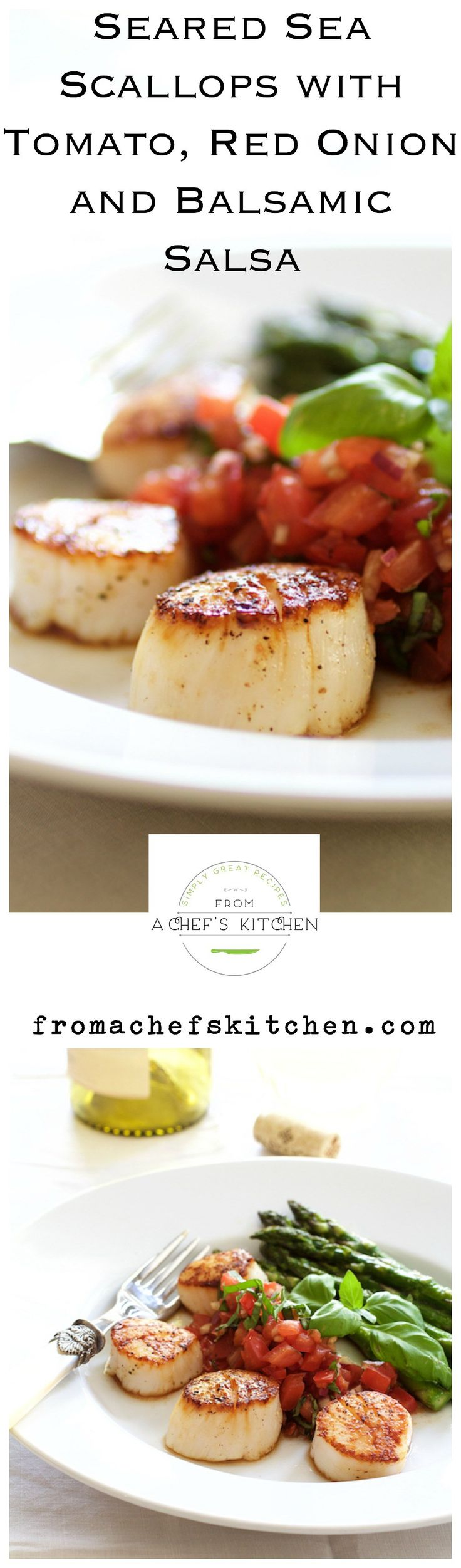 Seared Sea Scallops with Tomato, Red Onion and Balsamic Salsa for a light and elegant dinner for two.  #MySignatureDish #Ad