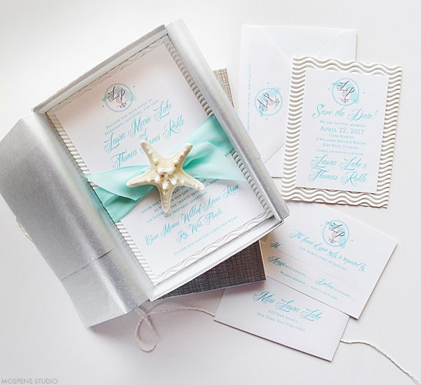 Elegant Beach Wedding Invitations In A Box With Starfish