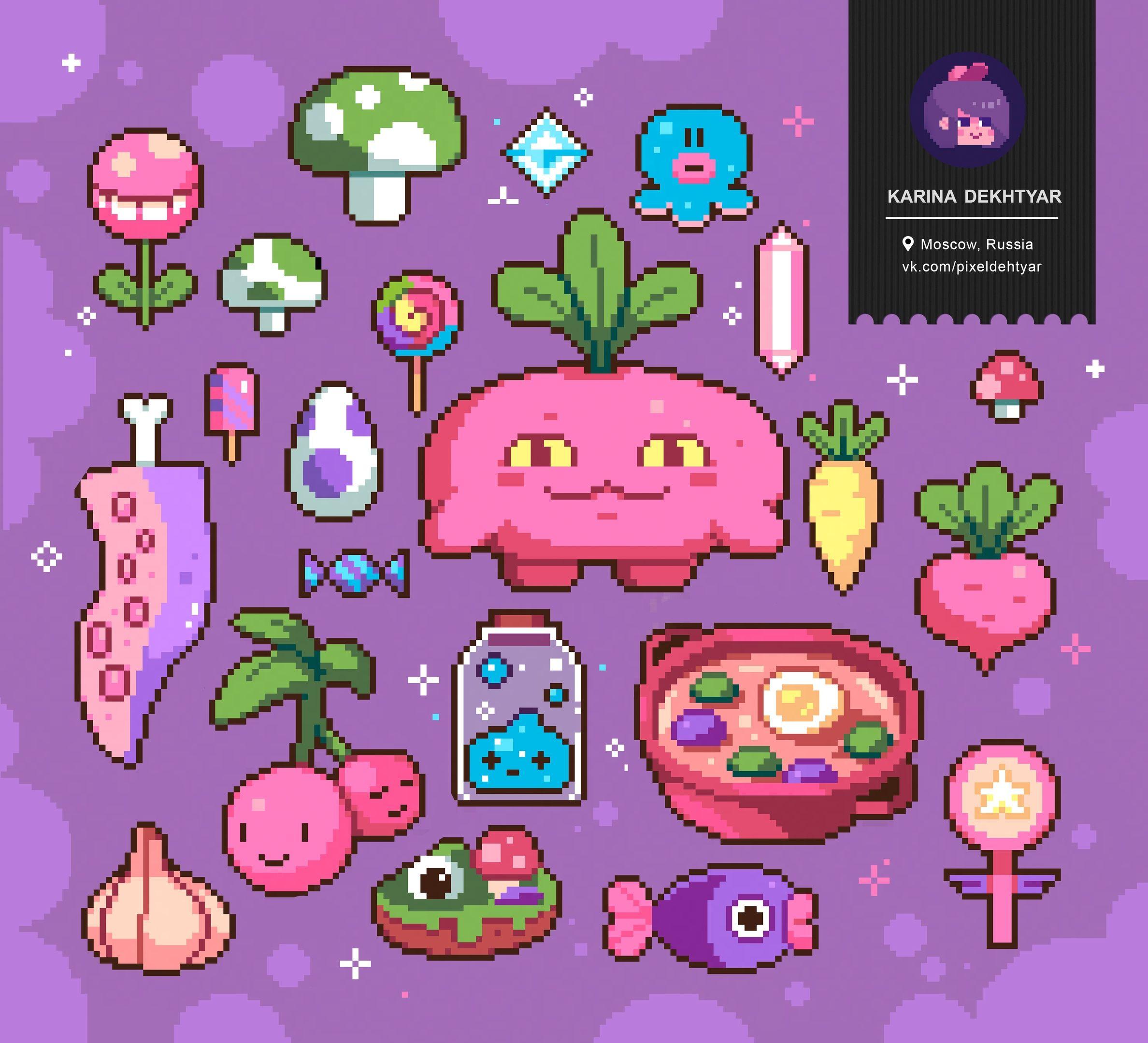 Dehtyar` Anime pixel art, Pixel art design, Pixel art