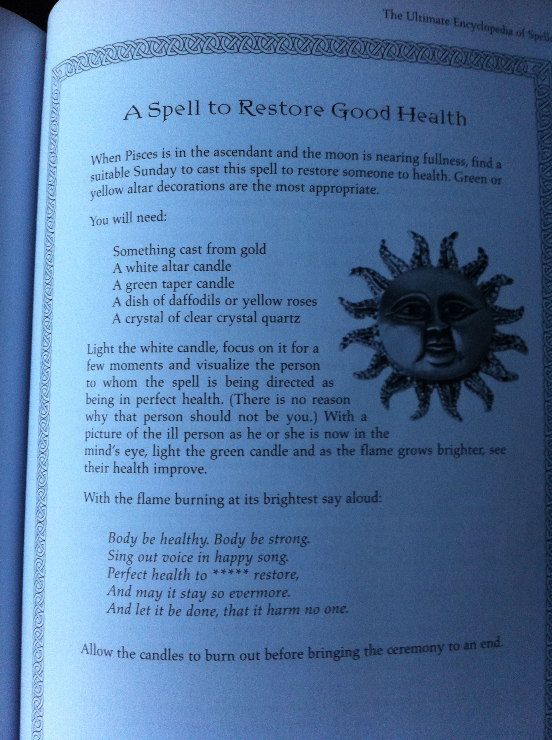 A spell to restore good health taken from The Ultimate