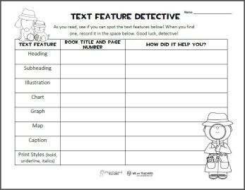 Text Features graphic organizer. FREEBIE from Squarehead Teachers ...