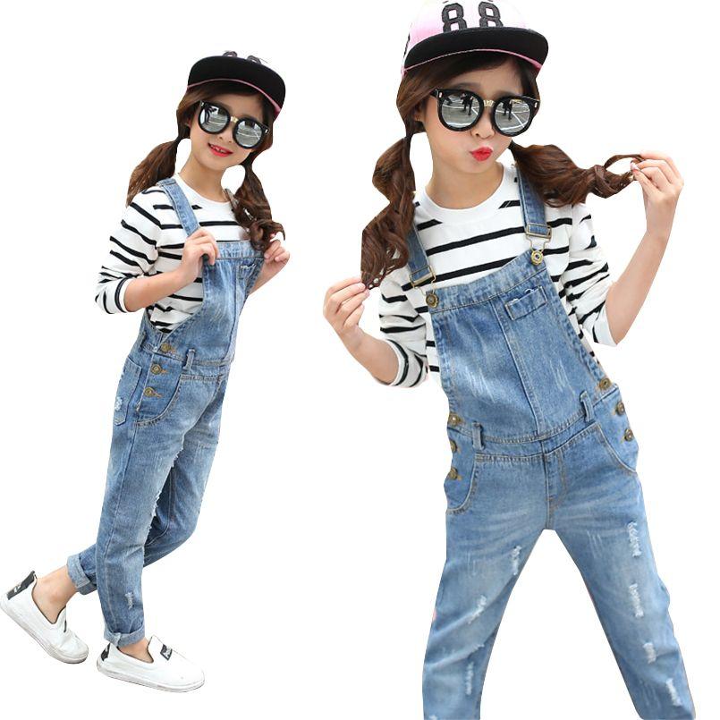 05ff66004780 Girls Overalls Denim Pants for Kids Spring Clothes Children Jeans ...