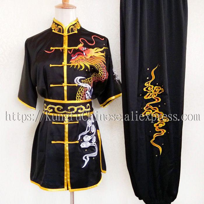 Kids Chinese Martial Art Uniform Dragon Embroidered Boy Taiji Suit Costume Retro