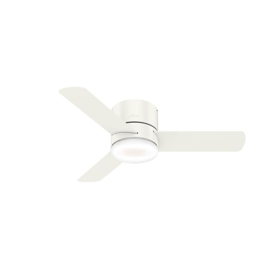 Hunter Minimus Led Super Low Profile 44 In Satin White Indoor Flush Mount Ceiling Fan With Light Kit And Remote 3 Blade Lowes Com Ceiling Fan With Light Ceiling Fan With Remote Led Ceiling