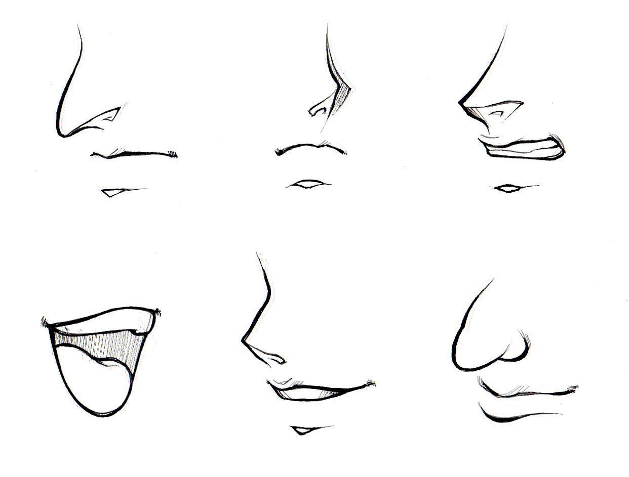 Nose Simple Sketch How To Draw Noses And Mouths Manga University Nose Drawing Anime Drawings Anime Nose