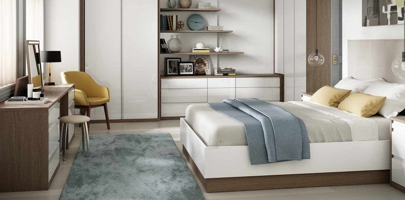 Solo Bedroom in High Gloss White and Tuscan Oak | Closet ...