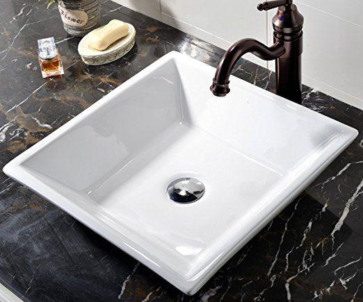 Vccucine White Square Above Counter Porcelain Ceramic Vessel Vanity Bathroom Sink Art Basin Ceramic Vessel Porcelain Ceramics Sink