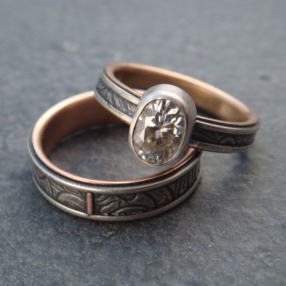 Usual Sunflower Wedding Band Engagement Ring Set
