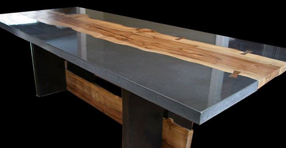 Concrete table with wood inlay by keelin kennedy cheng concrete exchange ideas for the house Concrete and wood furniture