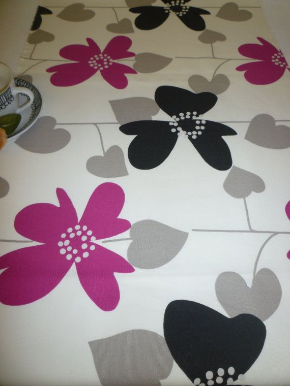Table Runner Dresser Pink Black Gray Taupe Fuschia by WickedWalls