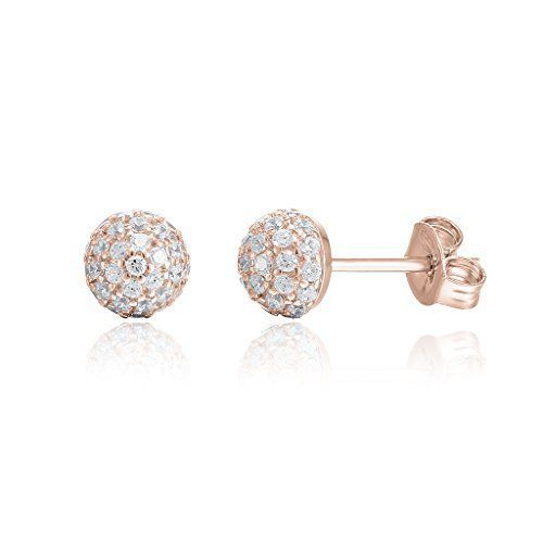 PAVOI Womens Hypoallergenic Rose Gold Plated Globe Stud Earrings
