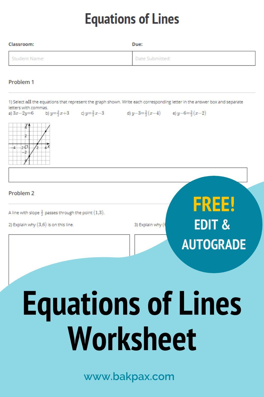 Free Equations Of Lines Geometry Worksheet Writing Equations Geometry Worksheets Equations