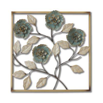 Stylecraft Square Metal Flower Wall Art in Turquoise | Metal flower ...