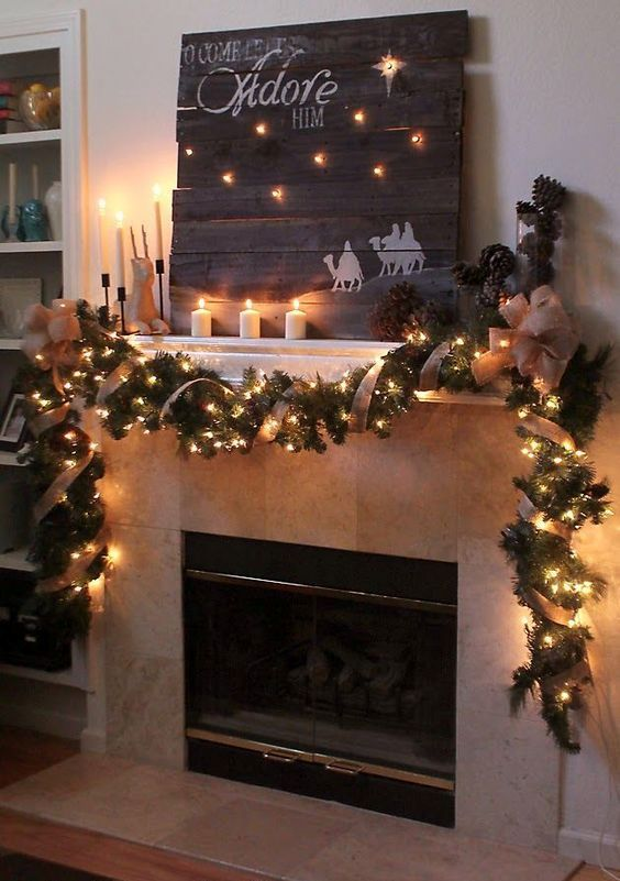 Hang candy canes with ribbon in Windows or oranges with cloves for