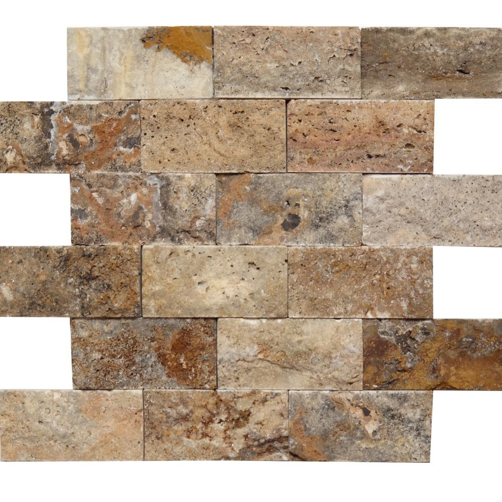 1 x 2 split face mosaic tile scabos travertine honed wall floor scabos travertine 2