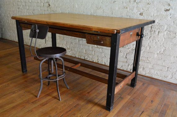 Large Industrial Hamilton Drafting Table Antique By GalaxieModern