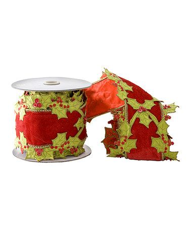 Another great find on #zulily! Red & Green Holly Velvet Ribbon #zulilyfinds